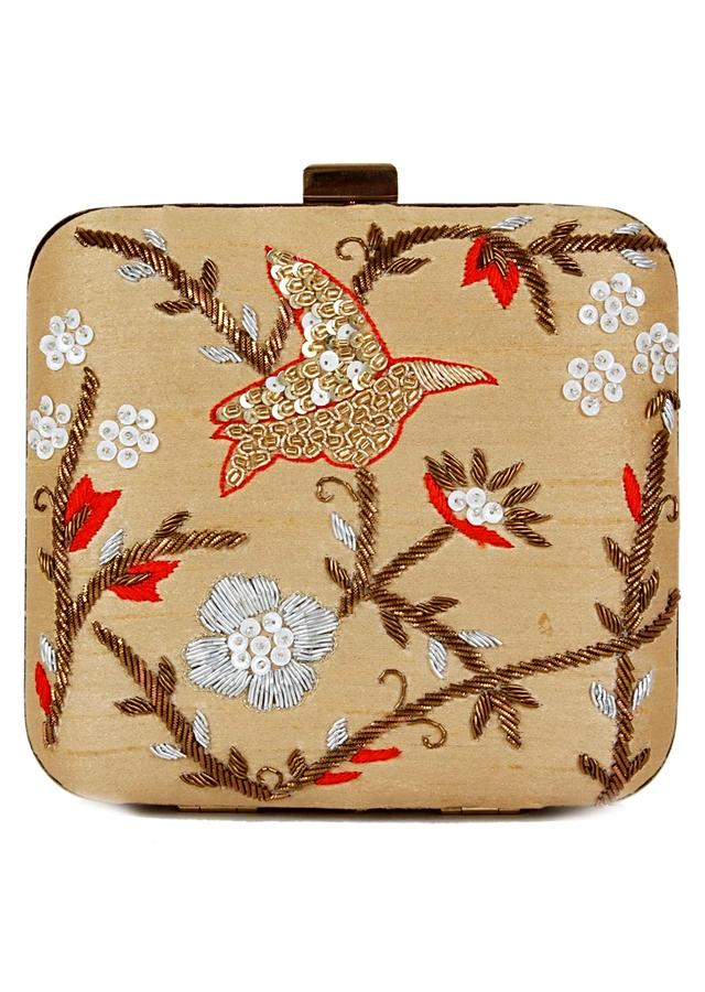 Beige Box Clutch With Hand Embroidered Zardozi and Sequins In Bird And Floral Design Online - Kalki Fashion