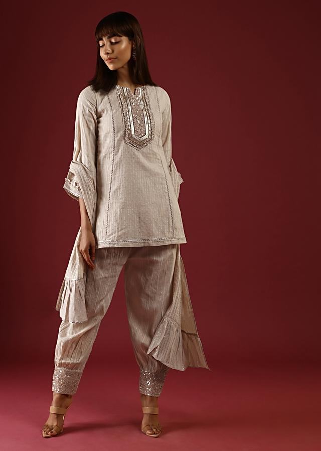 Beige Dhoti Suit In Cotton With Gotta Patti Embroidered Yoke And Bell Sleeves Online - Kalki Fashion