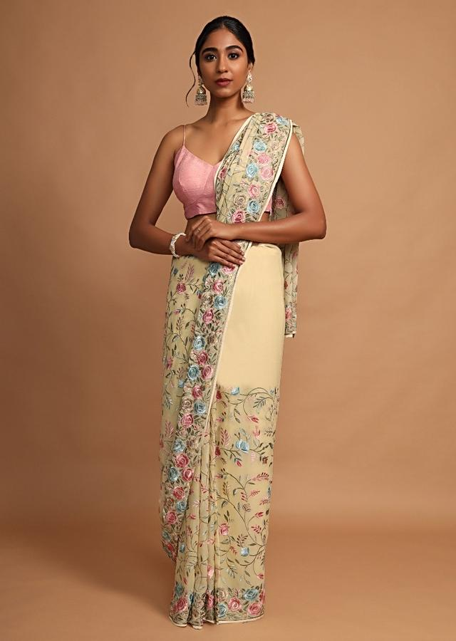 Beige Green Saree In Georgette With Colorful Resham Embroidered Floral Jaal Online - Kalki Fashion