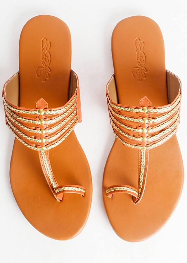 Beige Kolhapuri With Gold Braiding And Gold Rivets By Sole House