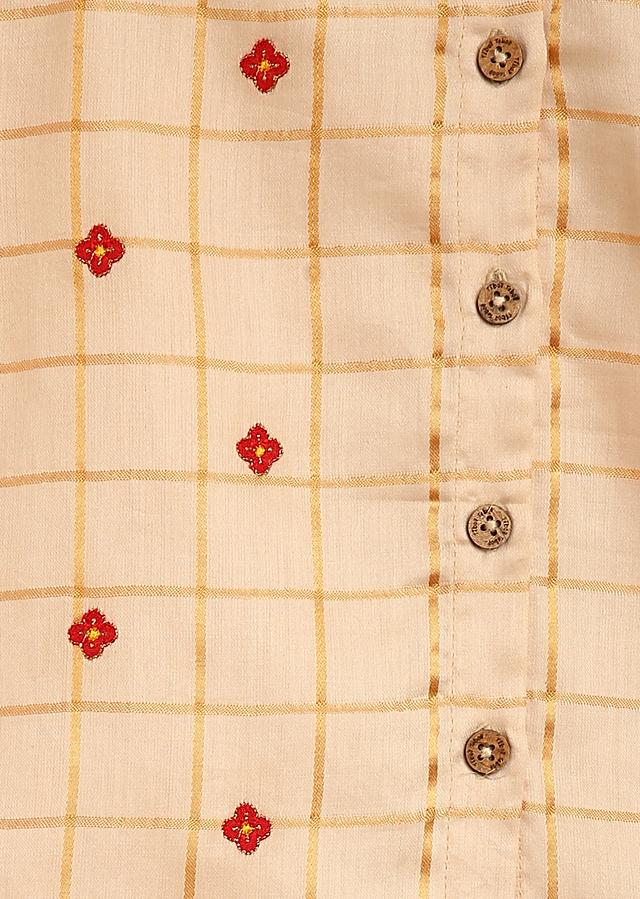 Beige Kurta And Red Dhoti Set In Cotton With Thread Embroidery Detailing By Tiber Taber