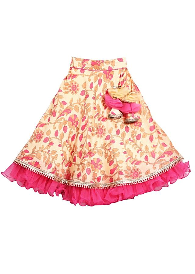 Beige Lehenga And Crop Top Set With Floral Print And Pink Ruffles Online - Free Sparrow