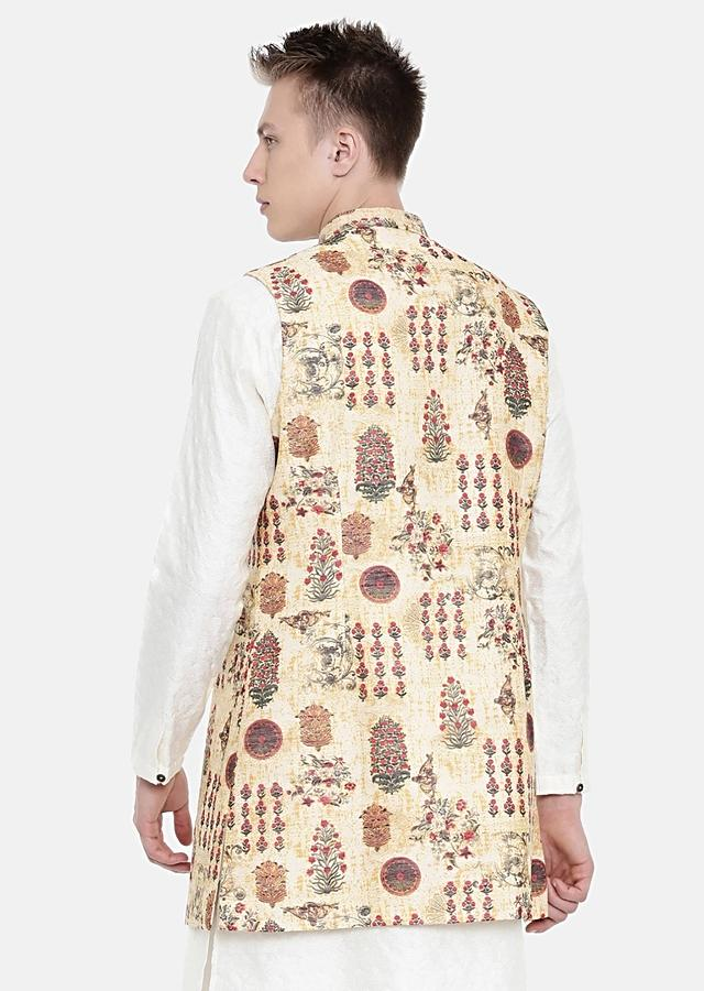Beige Long Jacket In Chanderi Cotton With Nature Inspired Print All Over By Mayank Modi