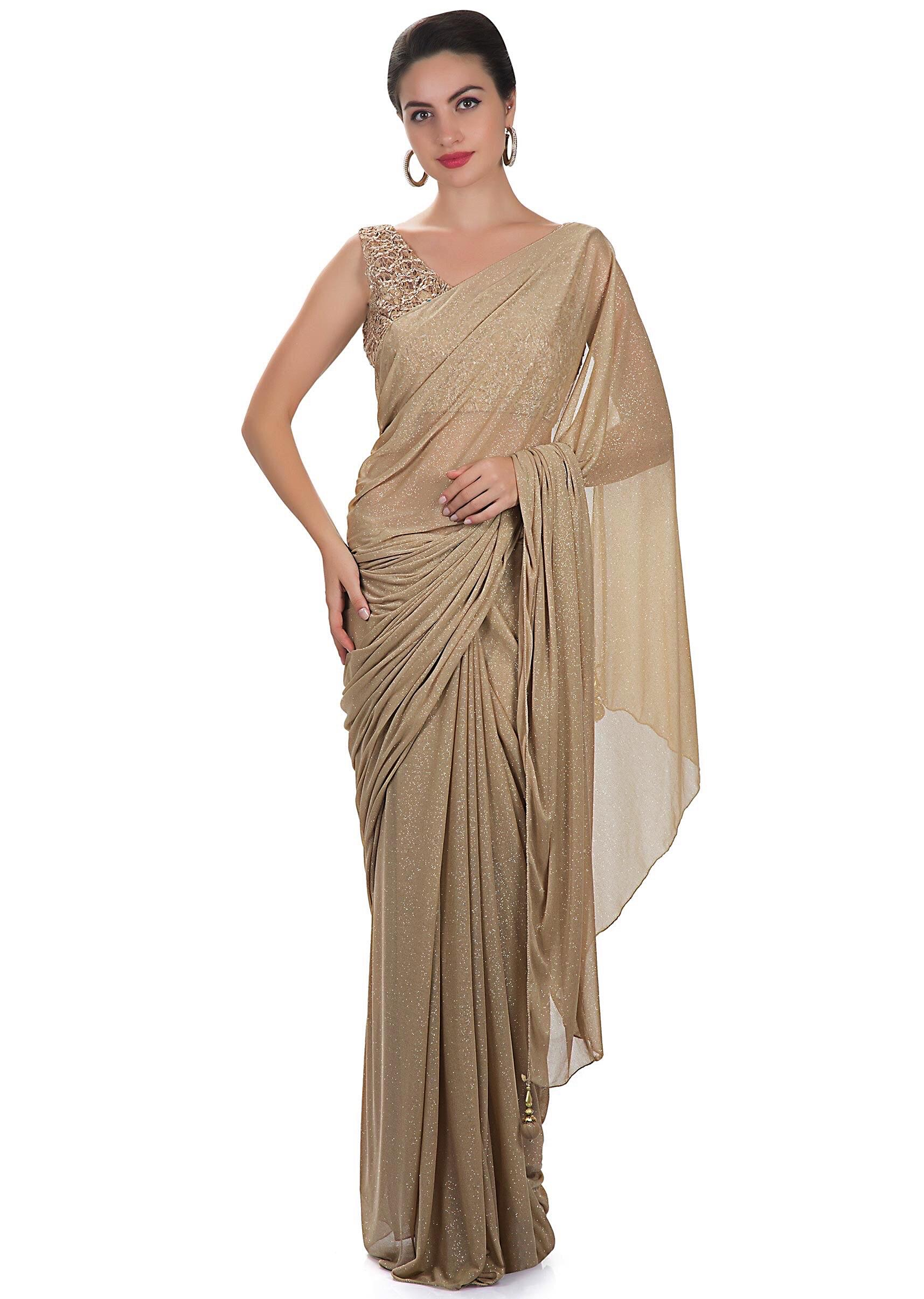 e74feb3addc11 Beige lycra net saree with embroidered fancy blouse only on KalkiMore Detail