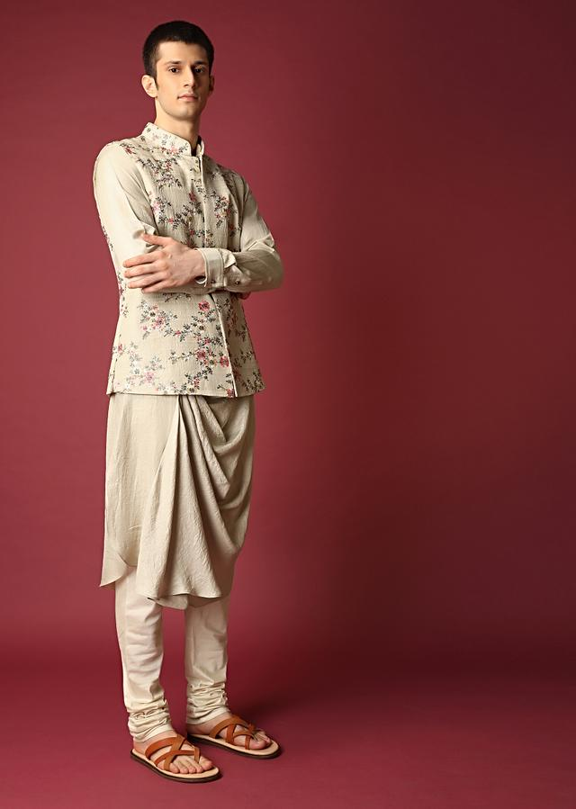Beige Nehru Jacket Set With Colorful Thread And Zardosi Embroidered Floral Jaal Along With Cowl Kurta Online - Kalki Fashion