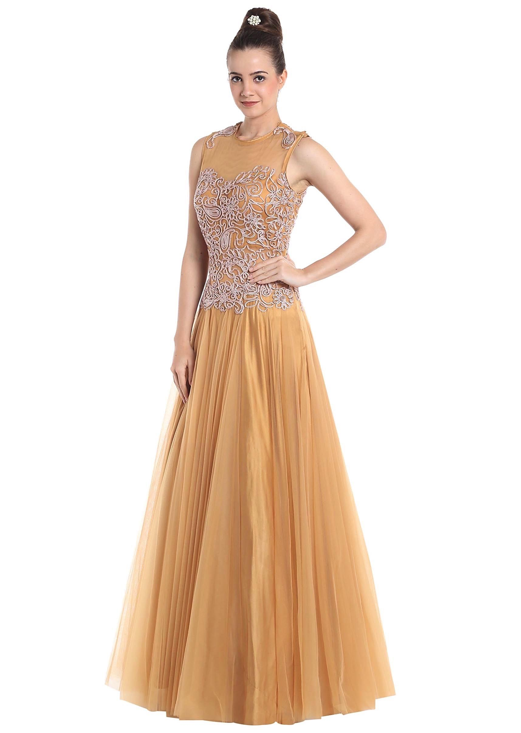 90a64f5f82 Beige net gown embellished with code thread work only on Kalki