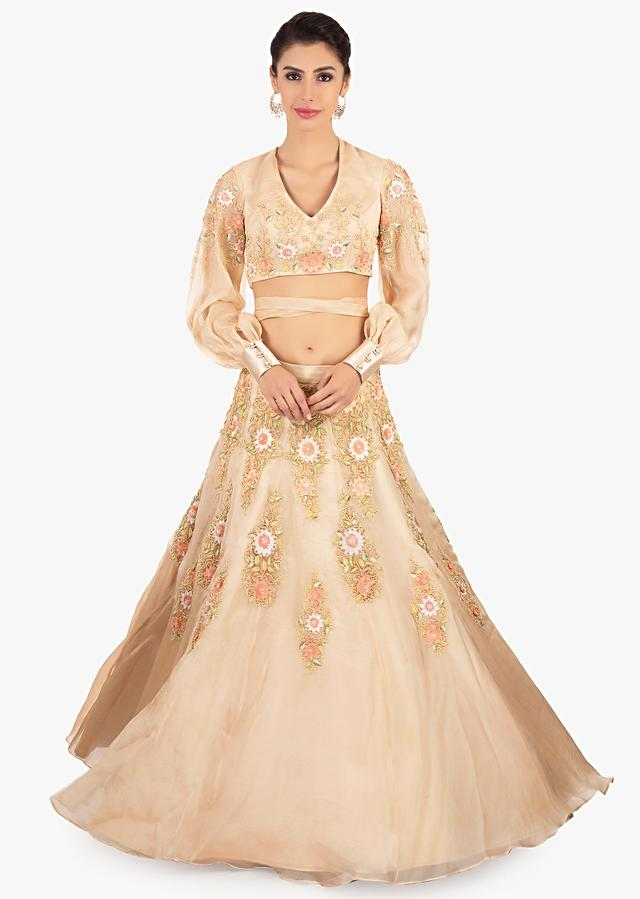 Beige Lehenga In Organza Paired With A Matching Blouse In Tie Up Strap From The Waist Online - Kalki Fashion