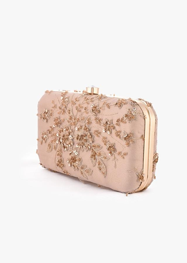 Beige Rounded Box Clutch With Embroidered Net Adorned In Zari And Sequins In Floral Motifs Online - Kalki Fashion