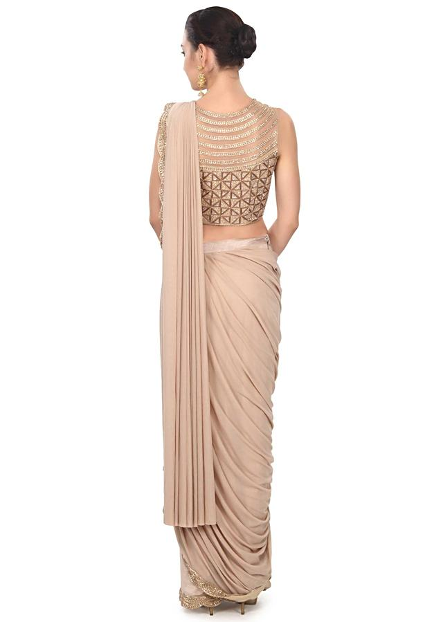 Classic Beige Saree Gown With Embroidered Border Online - Kalki Fashion