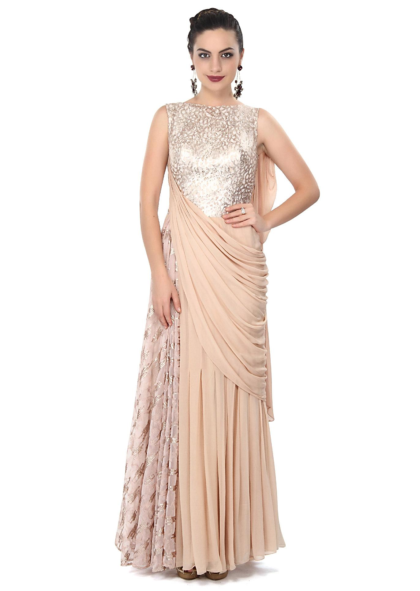Beige Saree Gown Enhanced In Sequin Embellished Bodice