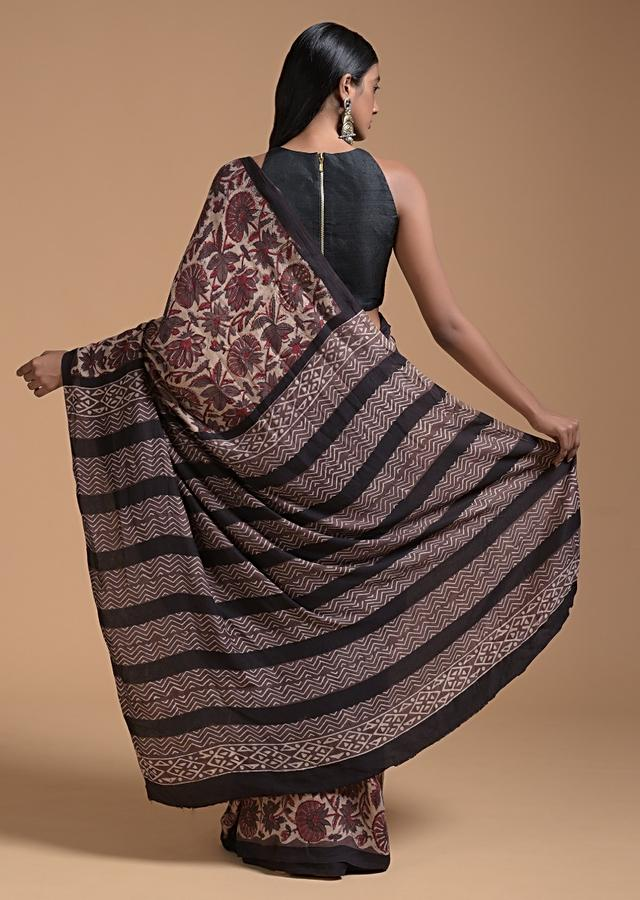 Beige Saree In Cotton With Brown Block Printed Floral Jaal Online - Kalki Fashion