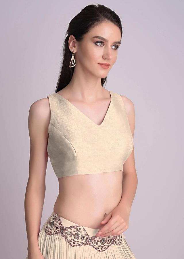Beige Sleeveless Blouse With V Neckline In The Front And Back Online - Kalki Fashion