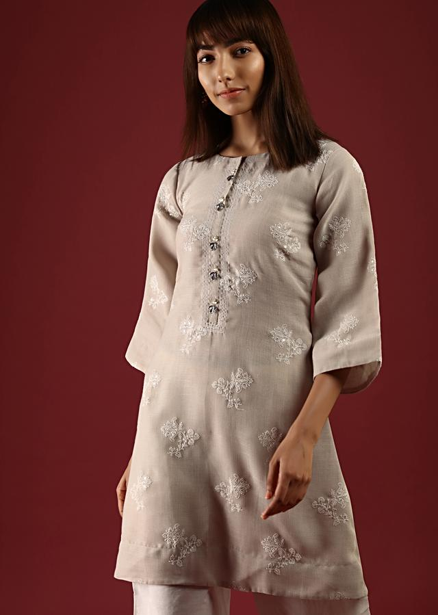 Beige Straight Cut Kurta Set With Thread And Sequins Embroidered Floral Buttis Online - Kalki Fashion
