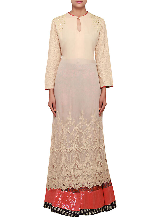 Beige straight fit kurti featured in chiffon with chickenkari and mirror work only on Kalki