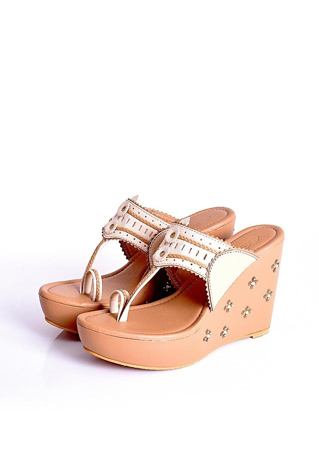 Beige Kolhapuri Wedges With Tikki And Beads Work By Sole House