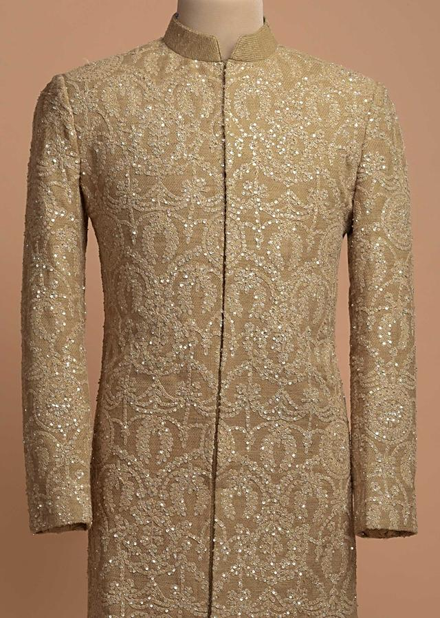 Beige Sherwani In Jute Cotton Embellished In Thread And Zari Embroidery Online - Kalki Fashion