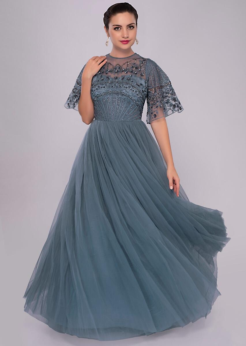 341dcd882c Bermuda blue net gown with embroidered bodice only on KalkiMore Detail