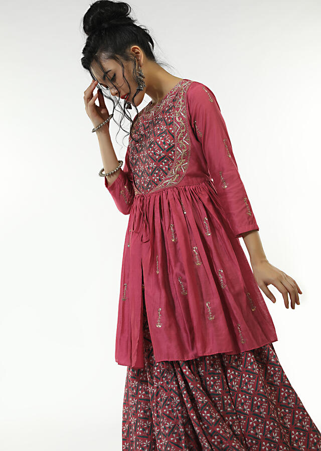 Berry Pink Long Dress With Floral Jaal Print And An Attached Peplum Jacket With Front Tie Up And Zari Work Online - Kalki Fashion