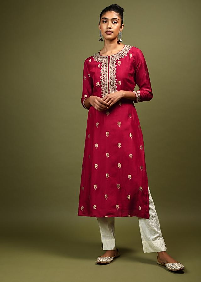 Berry Red Kurta In Cotton Silk With Brocade Floral Buttis And Zari Work On The Placket Online - Kalki Fashion
