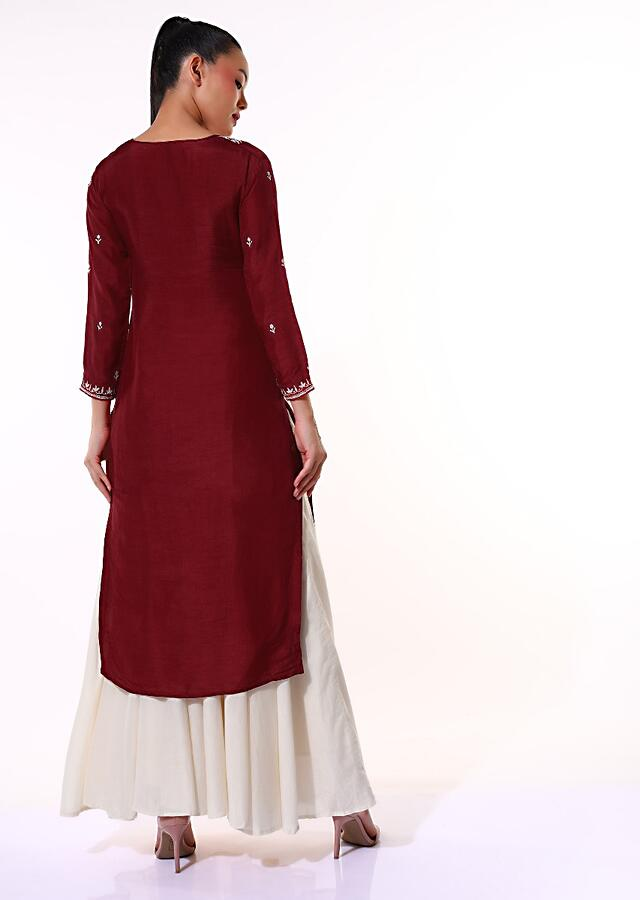 Berry Red Kurti In Cotton Silk With Thread Embroidered Yoke And Butti Work In Floral Motifs Online - Kalki Fashion