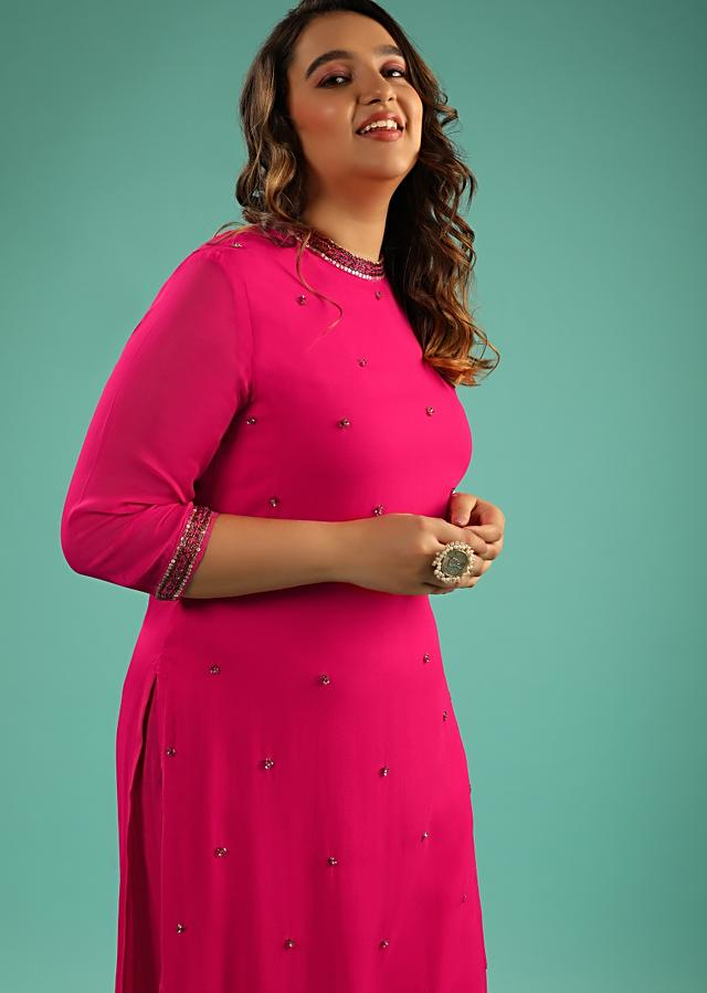 Berry Pink Straight Cut Suit In Georgette With Sequin Embellished Buttis Online - Kalki Fashion