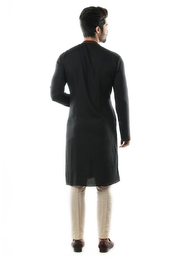 Black & Red Embroidered Kurta With Pin Tuck Pleats And Pant Pajama Online - Kalki Fashion