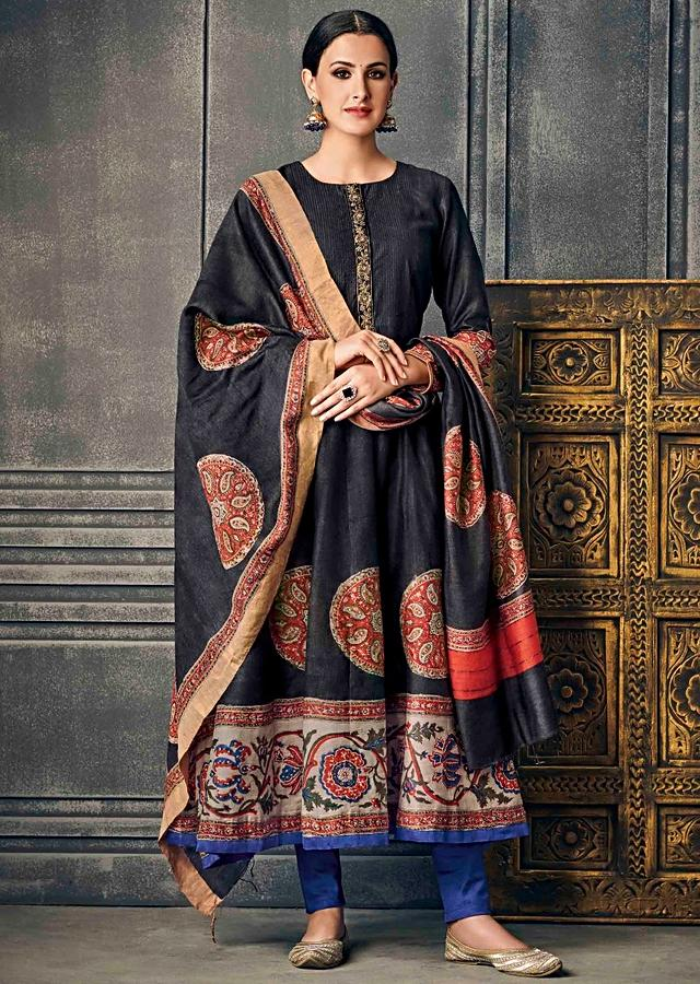 Black A Line Printed Suit With Embroidered Placket Online - Kalki Fashion
