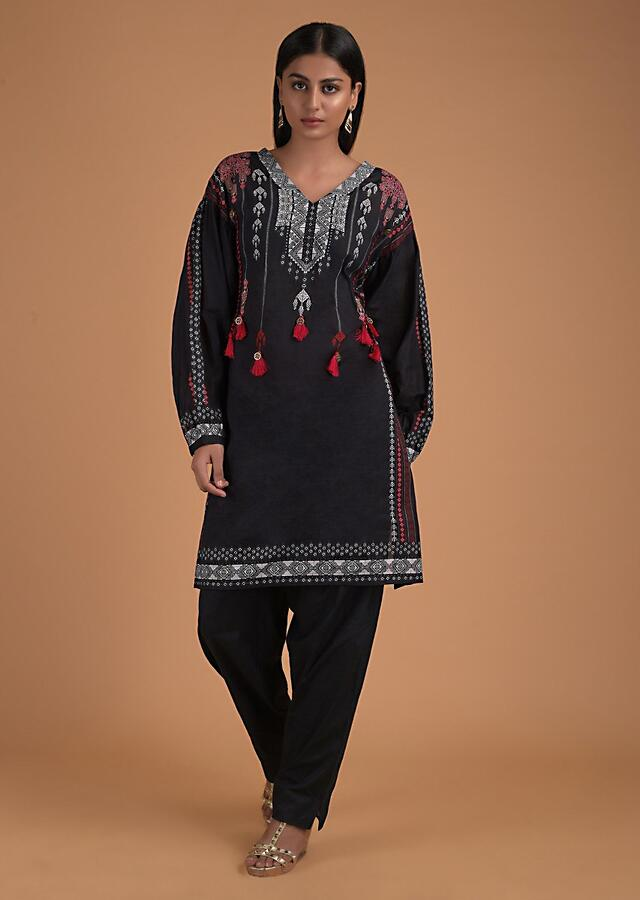 Black A Line Suit In Cotton With Tribal Print And Fancy Puffed Sleeves Online - Kalki Fashion