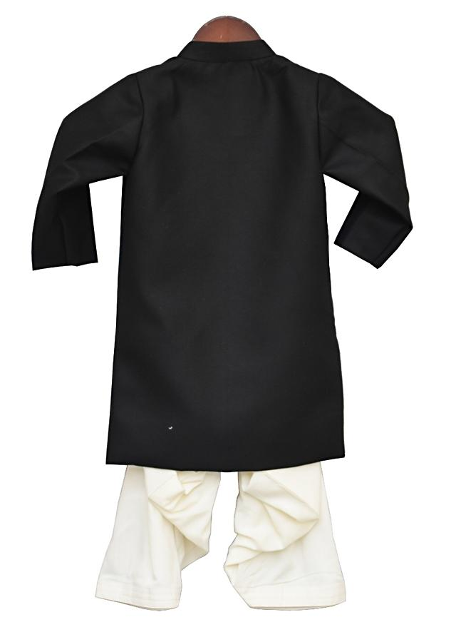 Black Ajkan With Butterfly Motif Embroidered Broach And Off White Salwar by Fayon Kids