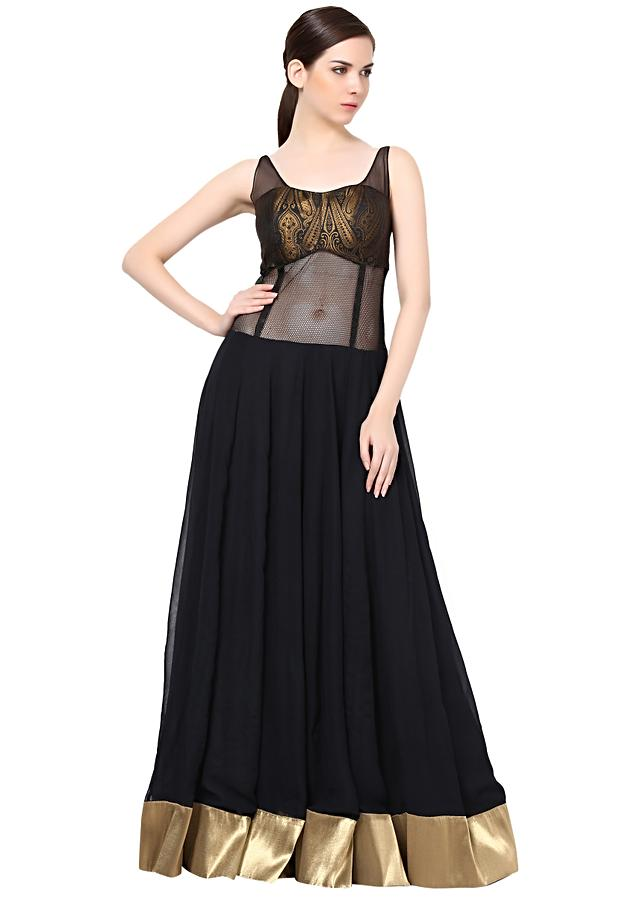 Black anarkali suit featuring in lurex border