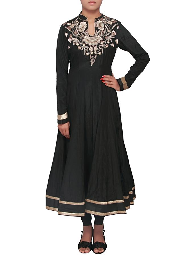 Black anarkali suit featuring with embellished neckline only on Kalki