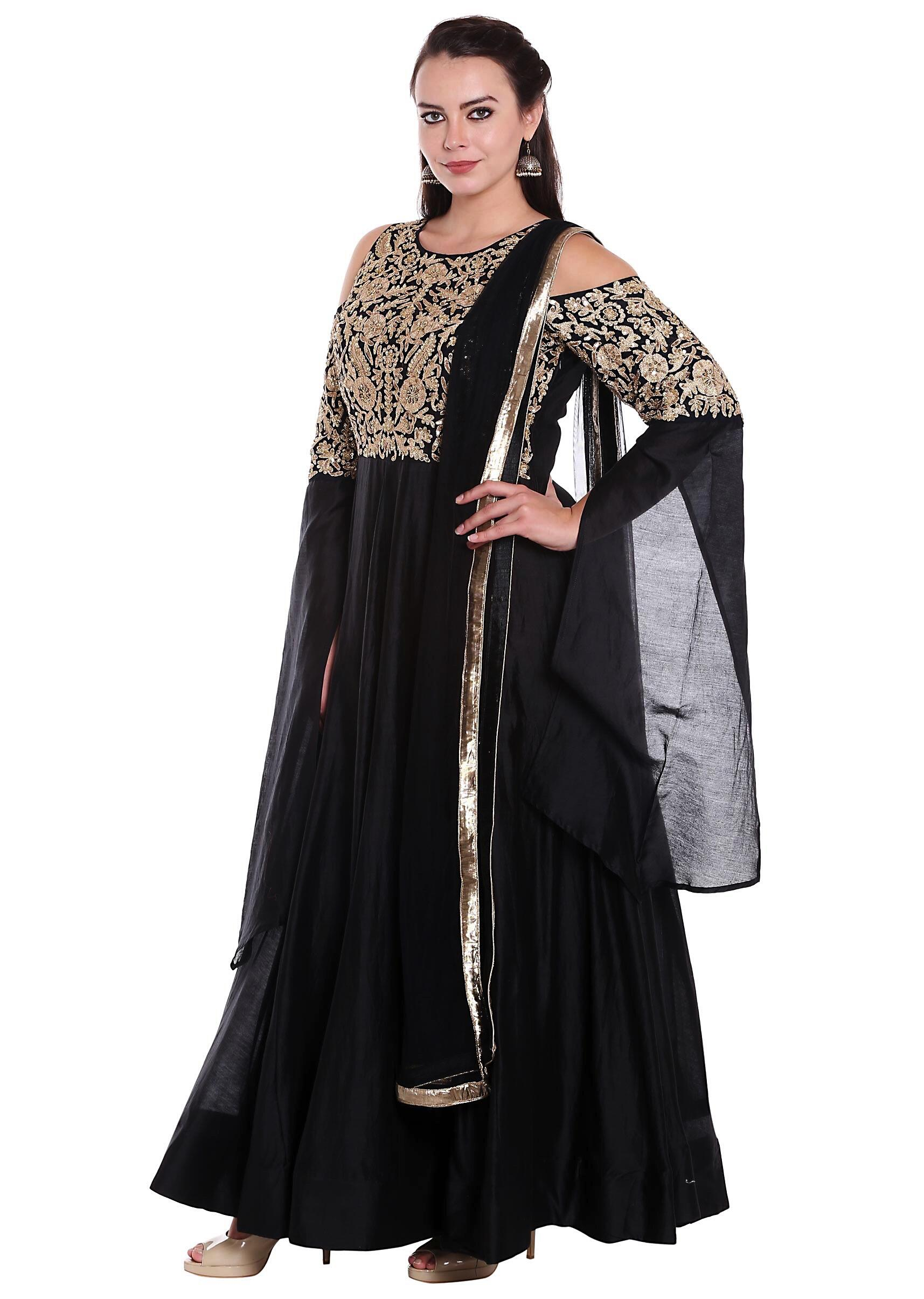 a4c5fae2244e8 Black anarkali suit in cold shoulder with zari embroidered bodice only on  KalkiMore Detail