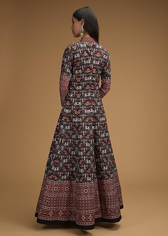 Black Anarkali Suit With Patola Printed Jaal And Multicolored Striped Dupatta Online - Kalki Fashion