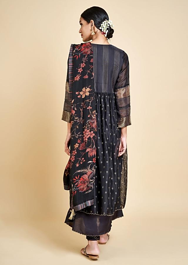 Black Anarkali Suit With Zari Embroidered And Foil Printed Buttis Online - Kalki Fashion