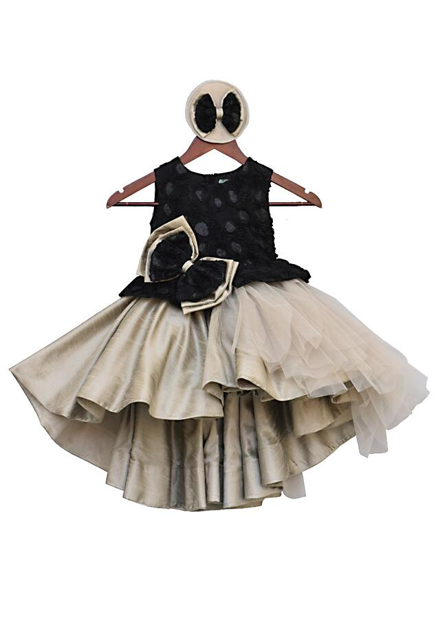 Black And Grey High Low Frock With Flower Embroidery On Yoke by Fayon Kids