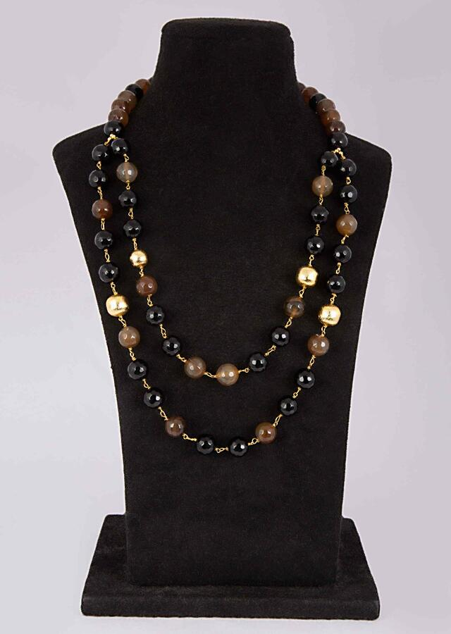 Black And Brown Beaded Double Layer Necklace Online - Kalki Fashion