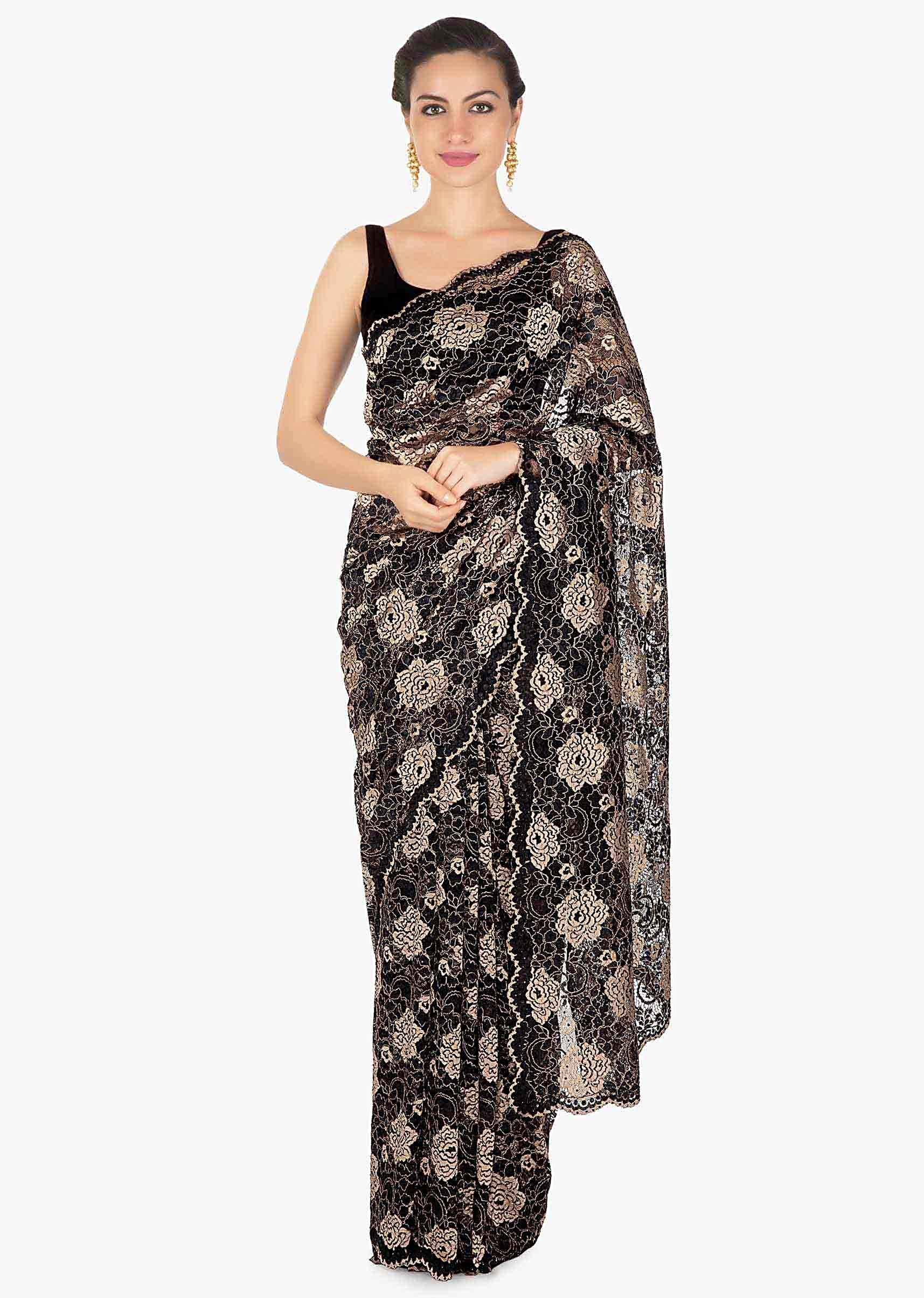 66b771ca1c1 Black and gold chantilly lace saree with scalloped border only on Kalki
