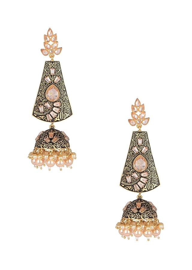 Black And Gold Jhumkas With Abstract Intricate Carving, Crystals And Pearls  Online - Kalki Fashion