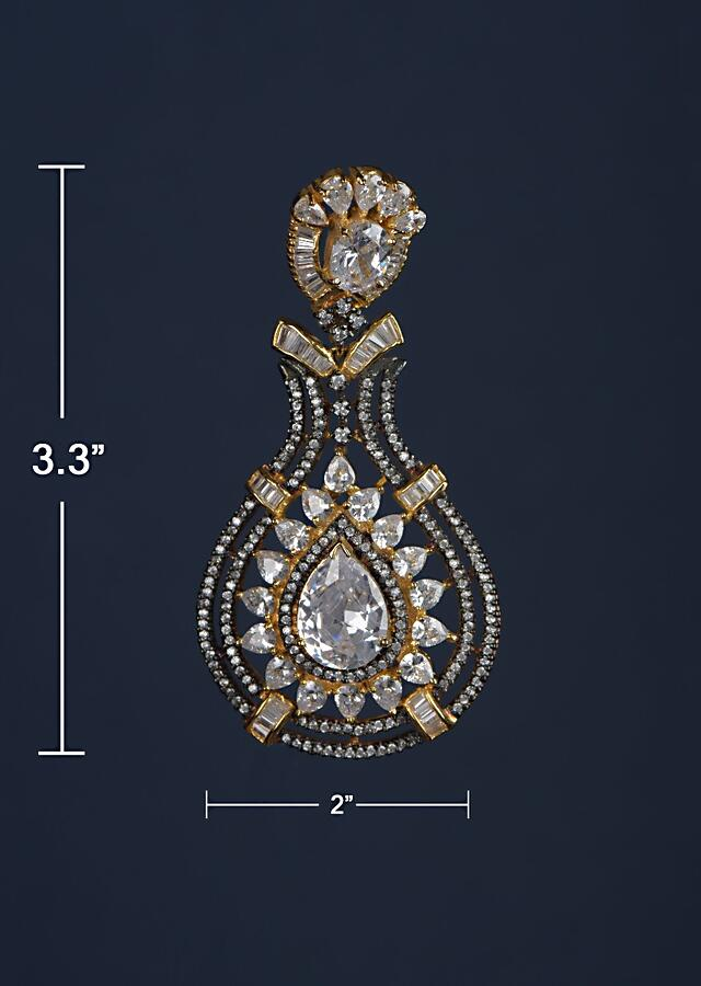 Black And Gold Plated Earrings Designed In Drop Motif With Crystals, Bugle Beads And Stones Online - Kalki Fashion