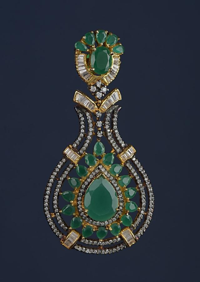 Black And Gold Plated Earrings Designed In Drop Motif With Green Crystals, Bugle Beads And Stones Online - Kalki Fashion