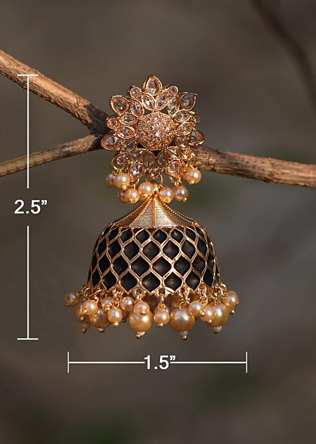 Black And Gold Plated Jhumkas With Carved Mesh, Crystals And Dangling Pearls  Online - Kalki Fashion