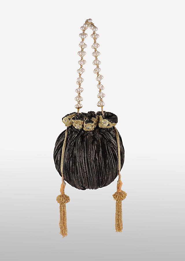 Black And Gold Potli Bag In Silk With Woven Golden Stripes And Cut Dana Embroidery Online - Kalki Fashion