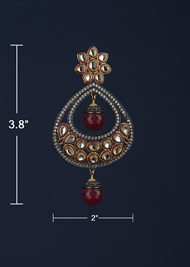 Black And Grape Purple Earrings In Floral And Drop Motif With Kundan And Dangling Bead Online - Kalki Fashion Online - Kalki Fashion