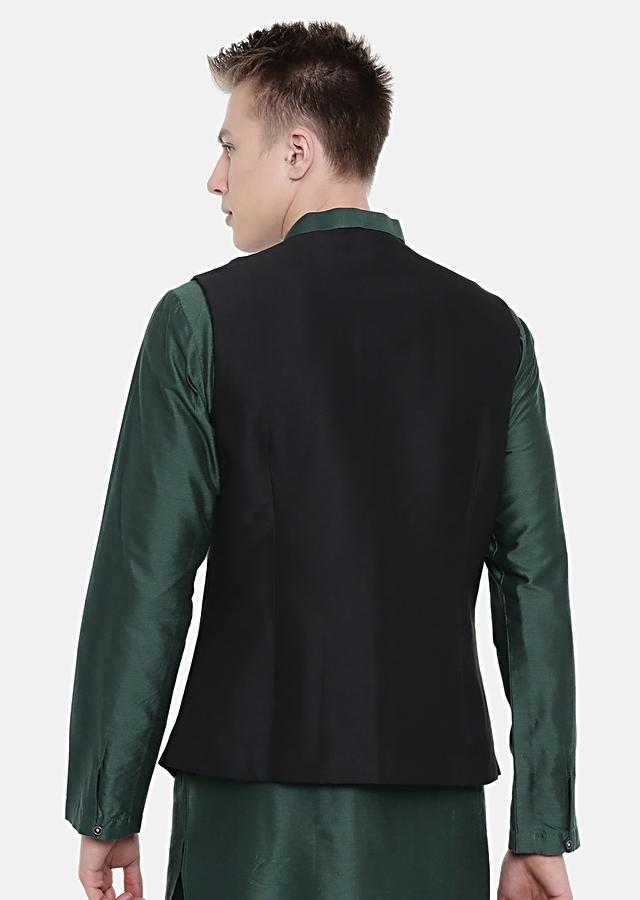 Black And Green Color Blocked Nehru Jacket In Cotton Silk By Mayank Modi