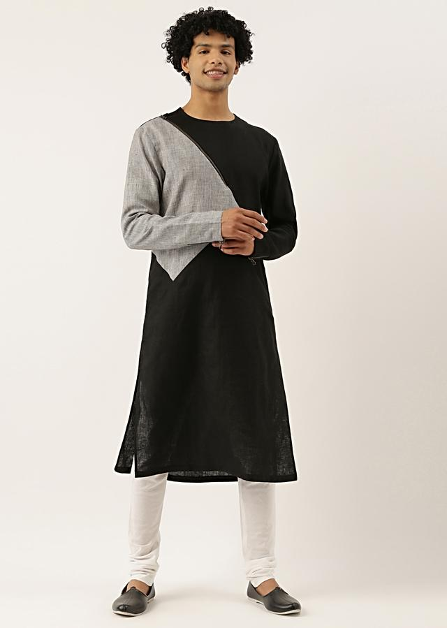 Black And Grey Checkered Kurta Set In Cotton Silk With Color Blocked Geometric Design  By Mayank Modi