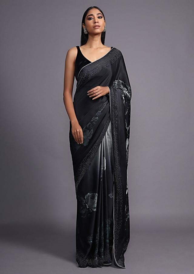 Black And Grey Ombre Saree In Satin Blend With Printed Floral Motifs And Kundan Accents Online - Kalki Fashion