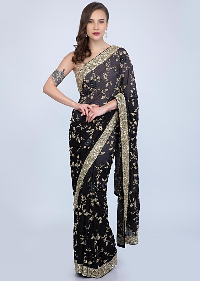 Black And Grey Saree In Shaded Heavy Embroidered Satin Chiffon Online - Kalki Fashion