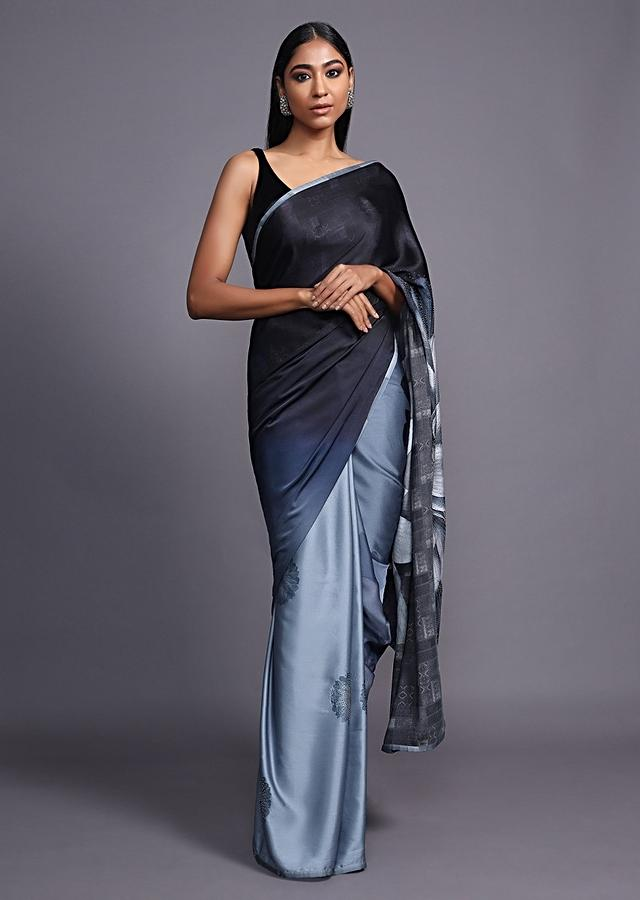 Black And Grey Shaded Saree In Satin Blend With Printed Floral Motifs And Kundan Accents Online - Kalki Fashion