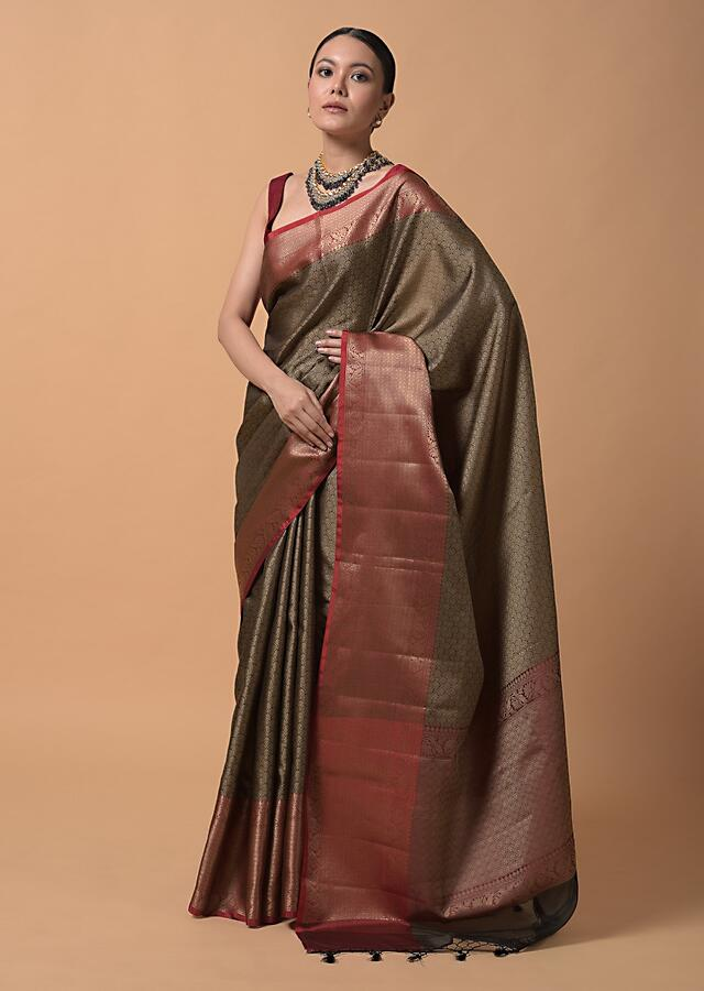 Black And Maroon Saree In Silk With Rich Woven Jaal Design In Scallop And Floral Motifs Online - Kalki Fashion