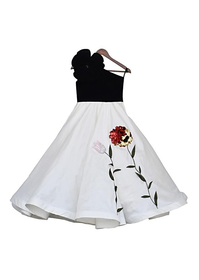 Black And Off White One Shoulder Gown With Elaborate 3D Flower By Fayon Kids